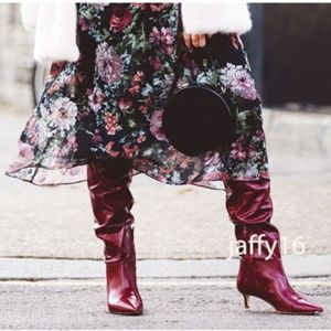 Zara over the knee gathered boots red
